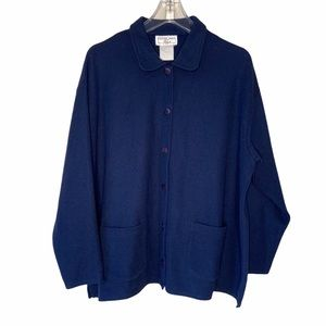 Classic Blue Button Front Two Pocket Sweater 16